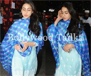 ट्रैडिशनल अंदाज में एयरपोर्ट पर दिखीं सारा अली खान, लखनवी कुर्ता पहन ढाया कहर