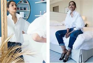 कांस फिल्म फेस्टिवल में पहुंची सोनम को आई पति की याद, आनंद के ब्रांड की शर्ट पहन खिंचवाई तस्वीरें