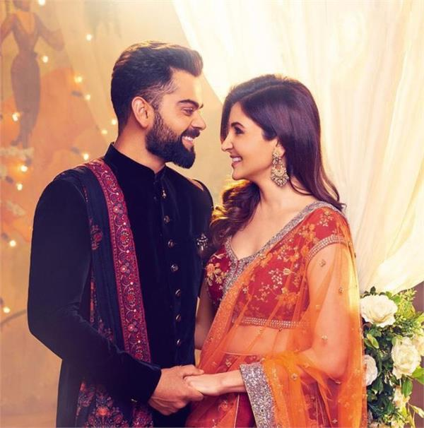 virat and anushka look very cute in groom bride  s getup