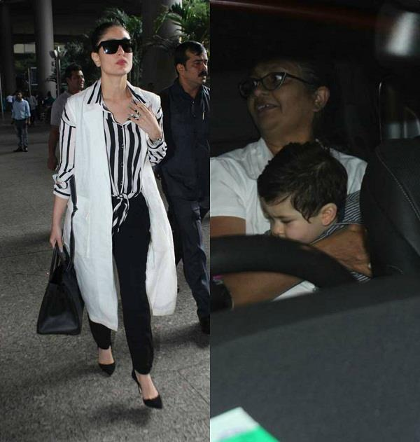 kareena and taimur spotted at airport