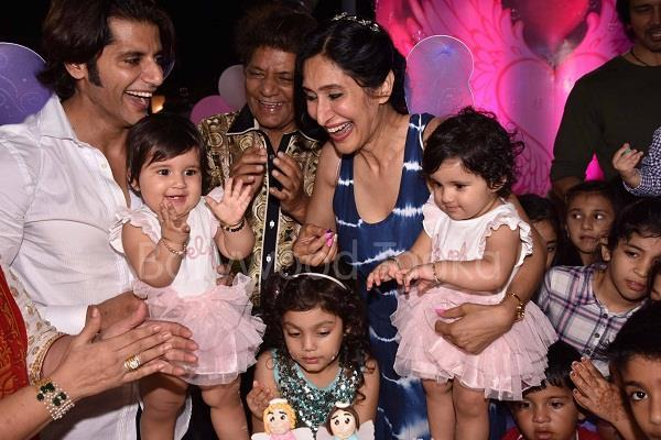 karanvir singh vohra celebrating the first birthday of his twin daughters