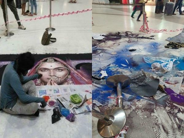 rangoli of deepika padukones padmavati destroyed