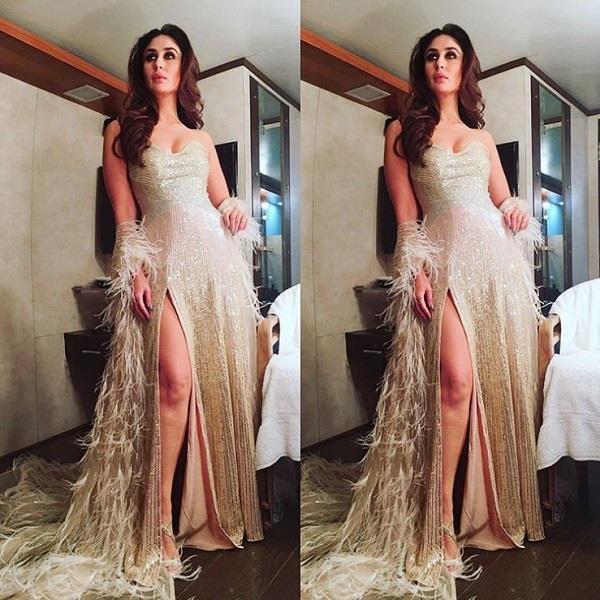 kareena kapoor s show in gold gown ethereal look