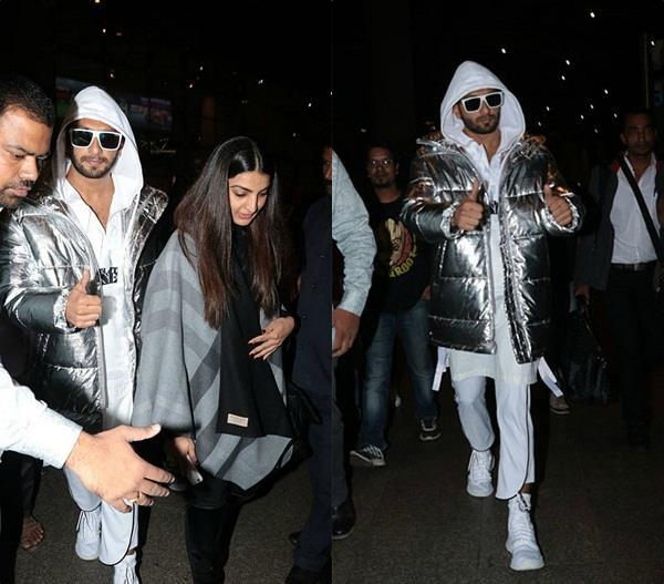 ranveer singh spotted with his sister at airport