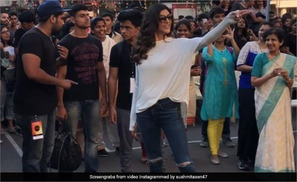 sushmita sen dance with college students video viral