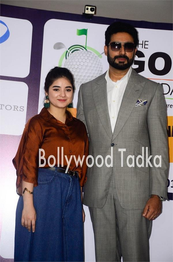 zaira wasim spotted at event with abhishek bachchan