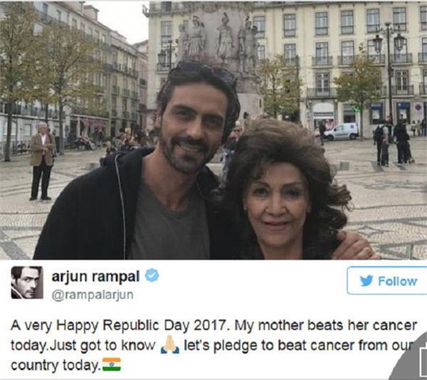 bollywood actor arjun rampals mother beats cancer