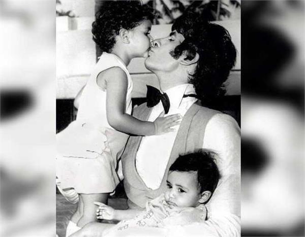 40 years old amitabh bachchan pic is seen with shweta and abhishek