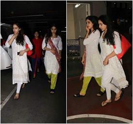 sara and jhanvi spotted at airport