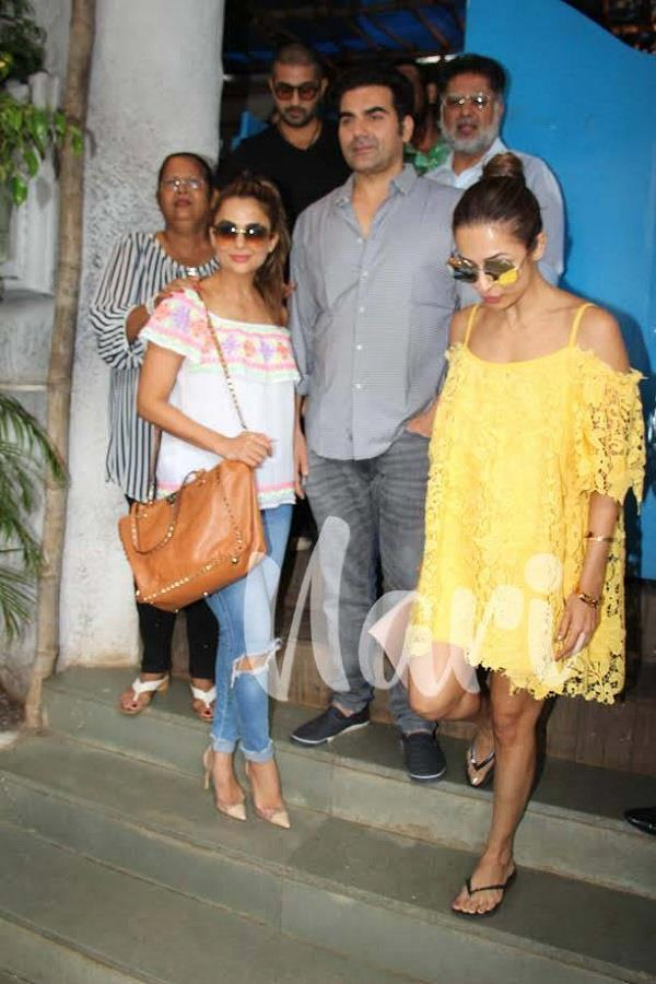 malaikaarora arbaazkhan spotted with family at hotel