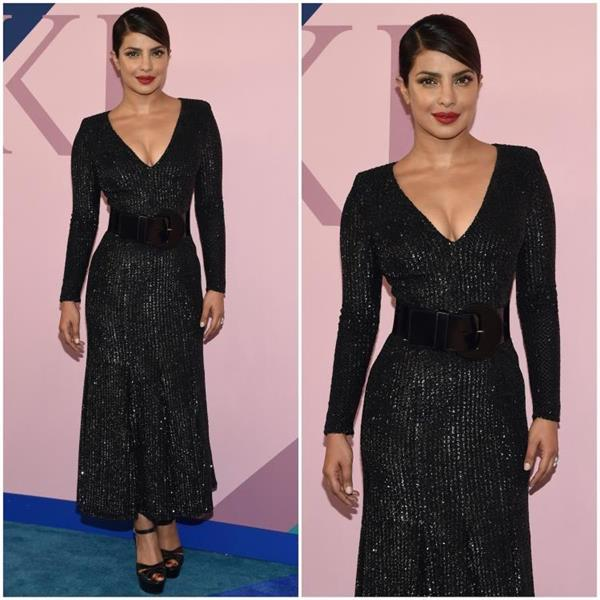 priyanka looks hot in black v neck gown