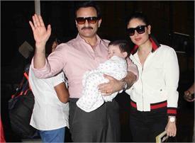छोटे नवाब तैमूर और बेगम करीना के साथ एयरपोर्ट पर स्पॉट हुए सैफ, देखें तस्वीरें