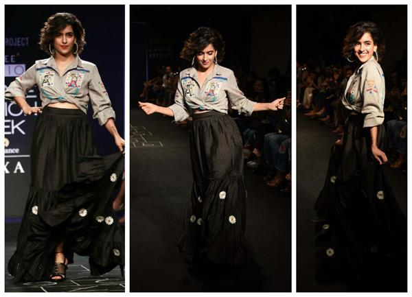 sanya malhotra in ramp at lakme fashion week