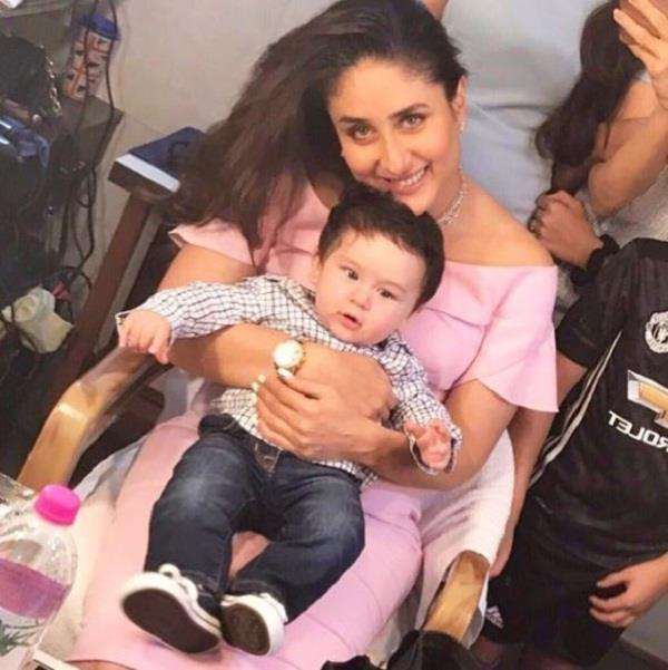kareena son taimur ali khan visits his mommy new shoot