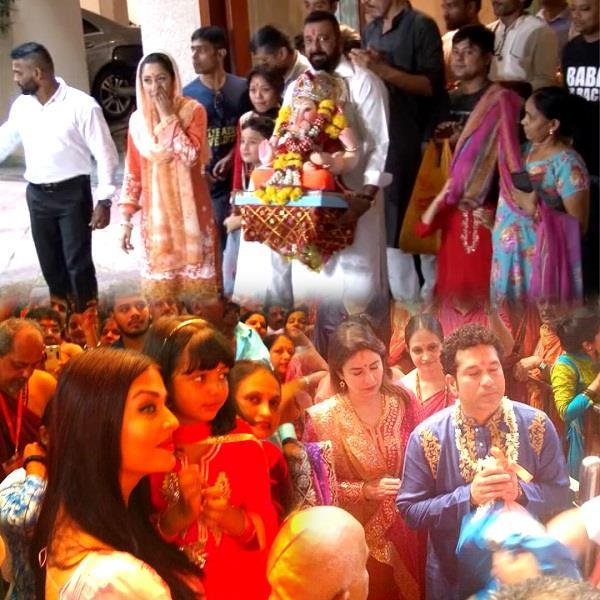aishwarya rai  sanjay dutt  sachin   other celebs celebrate ganpati visarjan