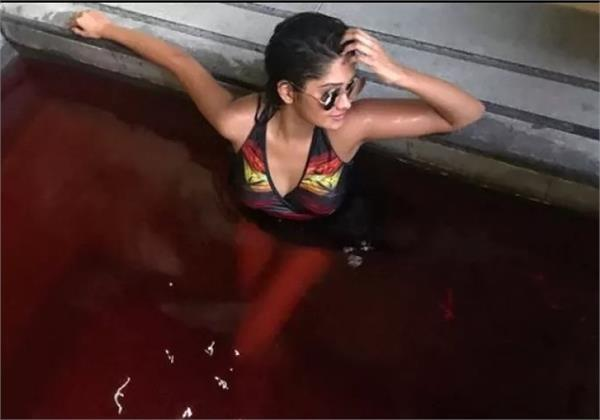 kanchi singh looks stunning as she chills in a water spring in taiwan