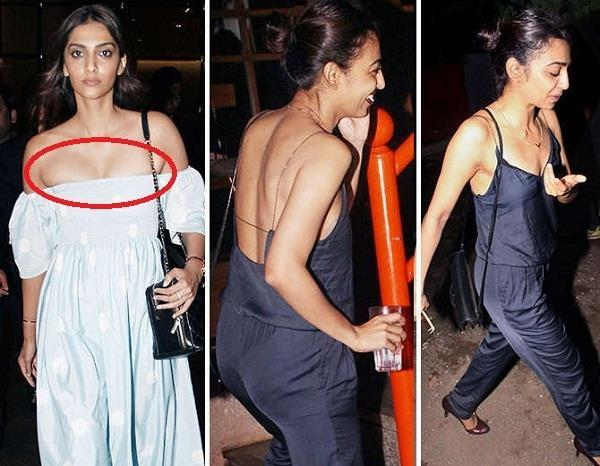 sonam kapoor and radhika apte spotted in bold look