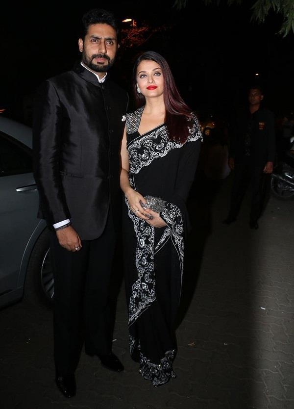 aishwarya rai in black saree at party