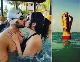 बिकिनी पहन टीवी एक्टर की बीवी ने दिखाई किलर फिगर, लिपलॉक करते रोमांटिक तस्वीरें की शेयर