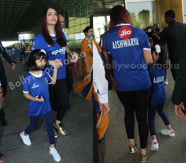 aishwarya with daughter aaradhya spotted at airport