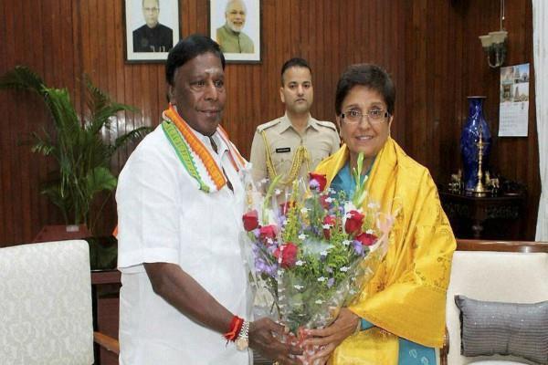 cm of puducherry praises lt governor kiran bedi