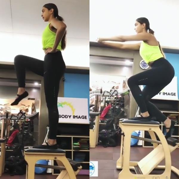 deepika padukone doing exercise on gym