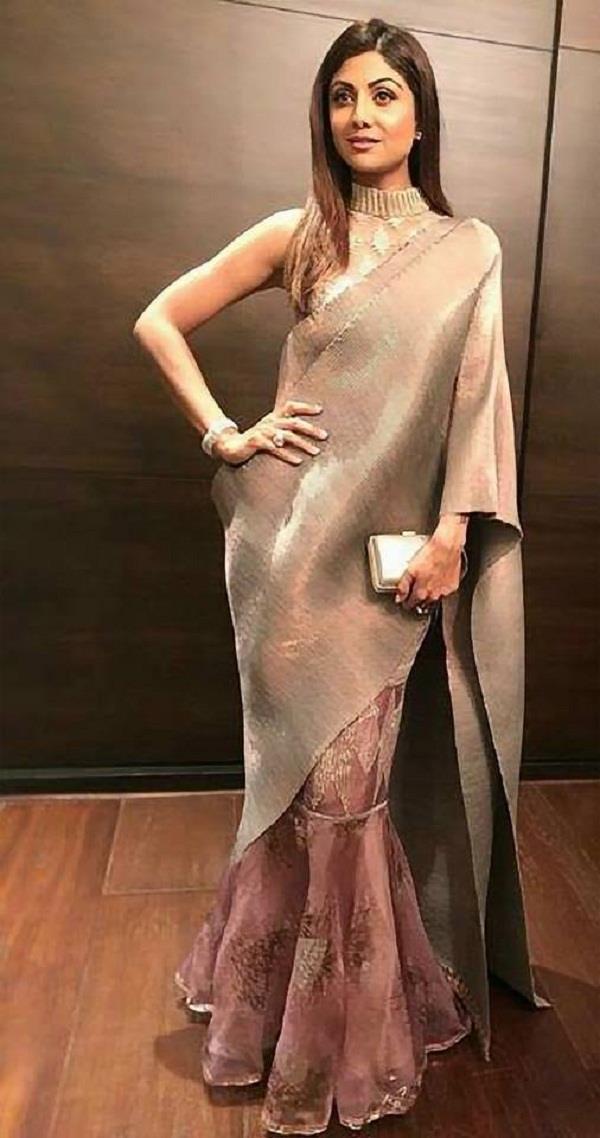 mermaid style sari shilpa s unique look