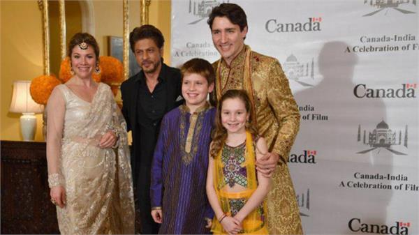 canada prime minister justin trudo met bollywood actor shahrukh khan