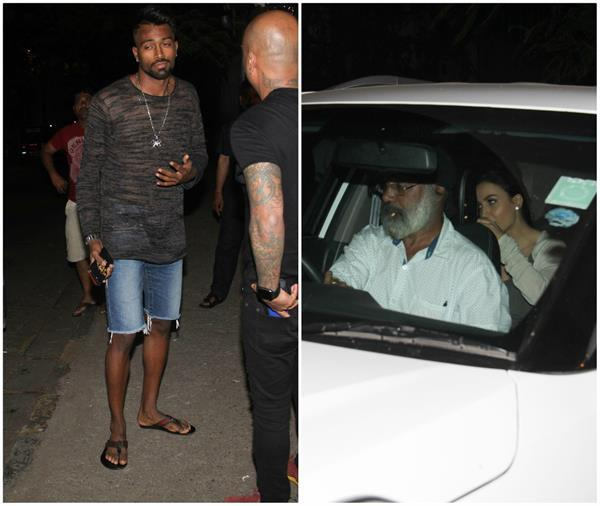 elli avram and hardik pandya spotted at salon bandra