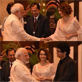 कंगना राणावत और प्रसून जोशी प्रधान मंत्री नरेंद्र मोदी से मिले