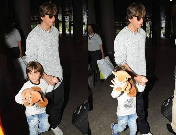 sharukh khan with son abraham spotted at airport