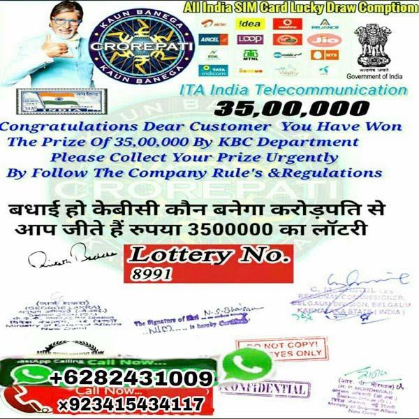 vicious active in the name of kbc lottery giving hoax to people like this