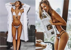 अखबार के पीछे छिपा हसीन लुक, टॉपलैस होकर हसीना ने करवाया बोल्ड फोटोशूट