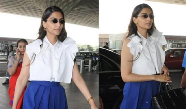 sonam kapoor opts for a casual look as she heads to dubai