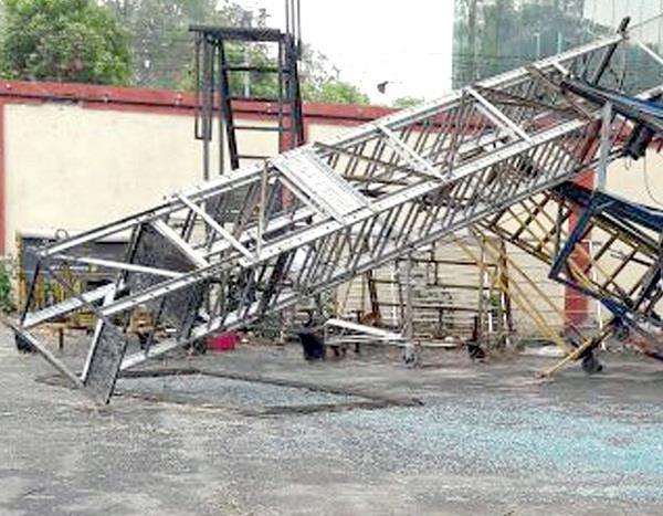hurricane cyclone hits airport destruction of crores