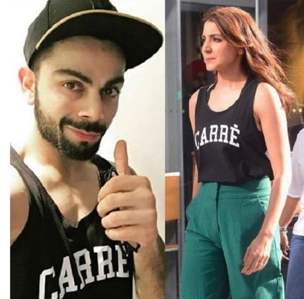 anushka sharma wear same t shirt of virat kohli