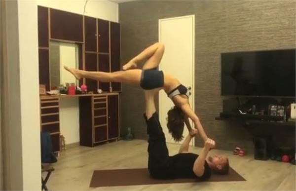 aashka goradia amazing video yoga practice with husband viral