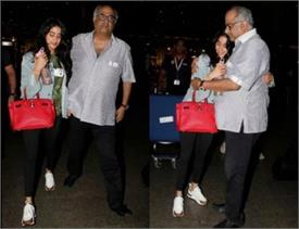 boney kapoor and jahnvi kapoor spotted at airport