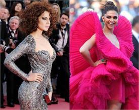 Cannes रेड कार्पेट पर दीपिका के आगे फीकी पड़ी कंगना की बोल्डनेस, catsuit में दिखा worst look