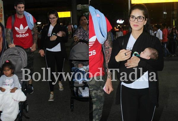 sunny leone spotted first time with husband and three children