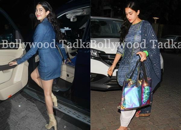 jhanvi kapoor and sara ali khan spotted different looks