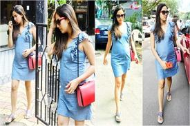 mira rajput flaunts her baby bump in a denim dress