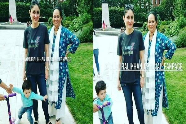 taimur loses his balance mommy kareena trolled by people