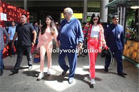 jahnvi kapoor spotted at airport with boney kapoor and khushi kapoor