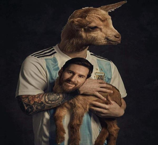 messi had to photoshoot with goat