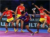 pro kabaddi league  gujarat defeated dabang delhi by 45 38