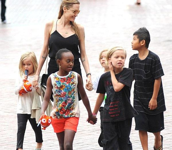 angelina jolie gets custody of all kids