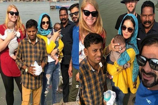 sunny leone immerse her parents ashes in ganga ghat