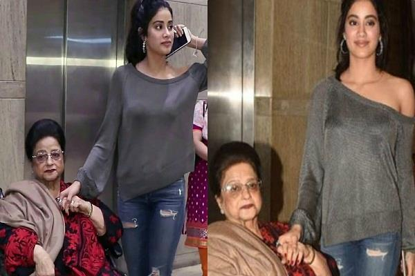 jhanvi kapoor with her grandmother at dhadak screening