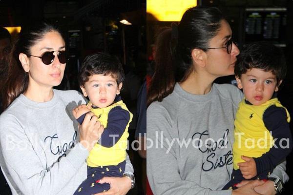 kareena kapoor khan spotted at airport with son taimur